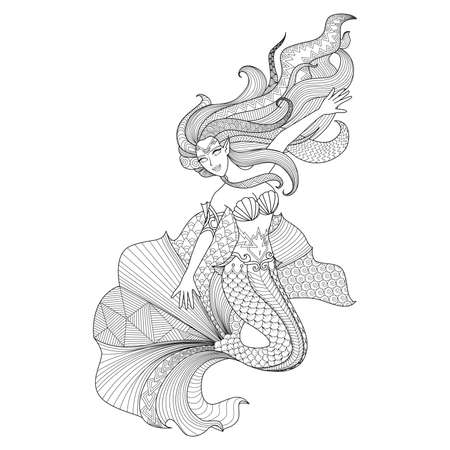 adult mermaid: Detailed zentangle mermaid for coloring page