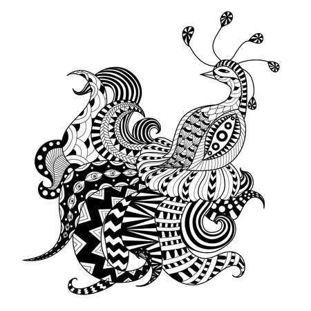 Digital drawing zentangle peacock