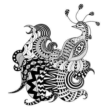 Digitale tekening zentangle pauw Stock Illustratie