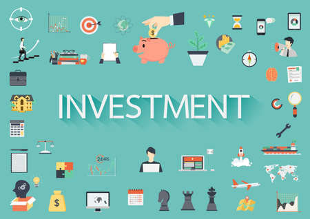 surrounding: The word INVESTMENT surrounding by concerning flat icons Illustration