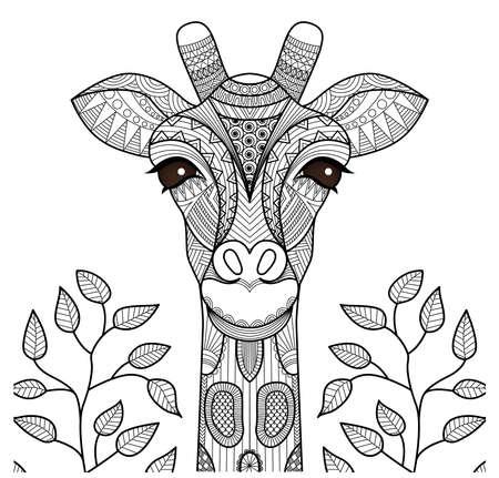 Cabeza de jirafa Zentangle de la página para colorear, diseño de la camiseta y así sucesivamente. Foto de archivo - 45721085