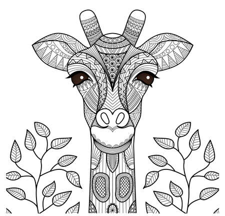 Zentangle giraffe head for coloring page, shirt design and so on.