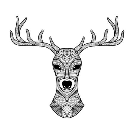 Detailed zentangle deer for coloring page, tattoo, shirt design, logo and so on