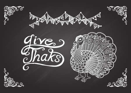 give thanks: Lettering give thanks with turkey on chalkboard