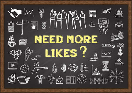 pr: NEED MORE LIKES  phrase with concerning doodle on chalkboard