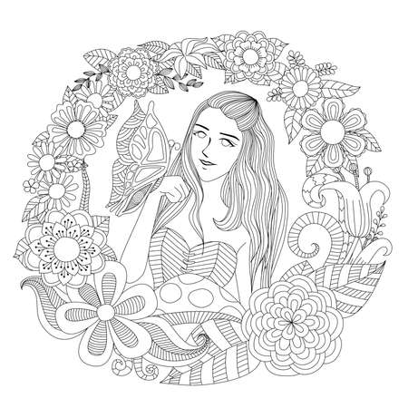 Girl In The Flower Garden Coloring Page Royalty Free Cliparts ...