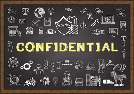 official: Business doodle about confidential on chalkboard.
