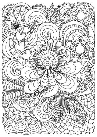 colouring pages: Detallado fondo flores abstractas