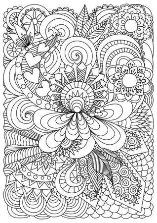Gedetailleerde abstracte bloemen achtergrond Stock Illustratie
