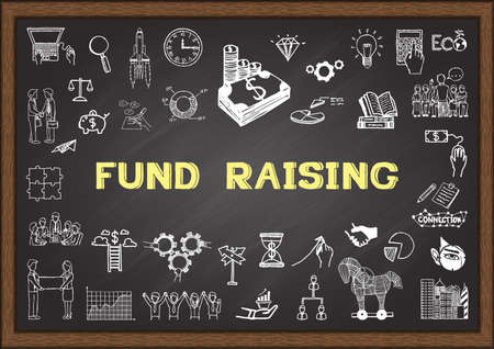 funding: Business sketch about fund raising on chalkboard. Illustration