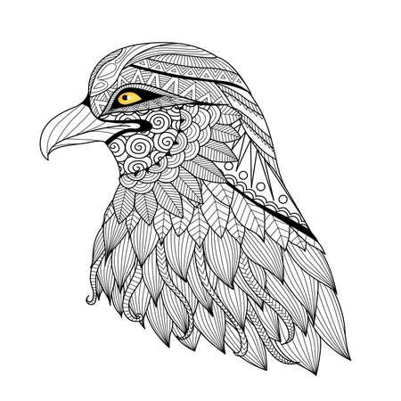 Detail adelaar voor kleurplaat, tattoo, t shirt design, en ga zo maar door. Stockfoto - 46615489