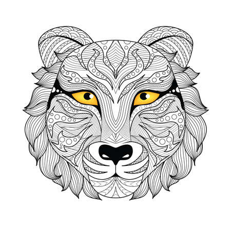 Detail   tiger for coloring page, tattoo, t shirt design, and so on.