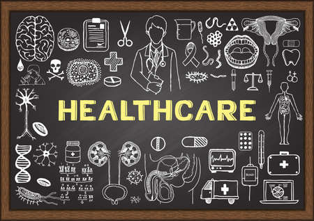 reform: Doodles about healthcare on chalkboard.