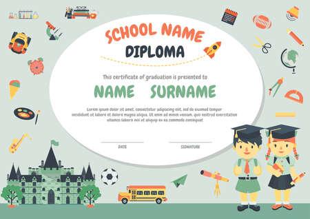 diploma: Preescolar Los niños de la escuela primaria fondo certificado Diploma plantilla de diseño Vectores