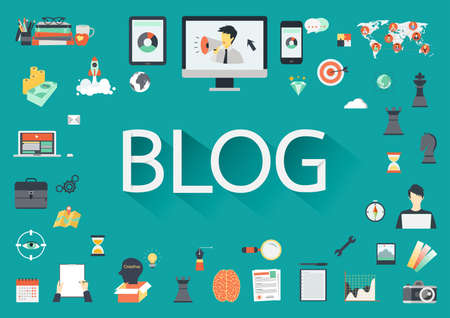 blogs: The word BLOG with long shadow with concerning flat icon Illustration