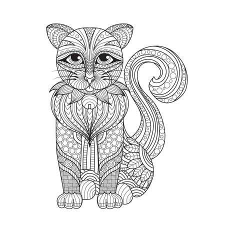 koty: Rysunek kota na stronie kolorowanki, shirt efekcie, tatuażu i dekoracji.