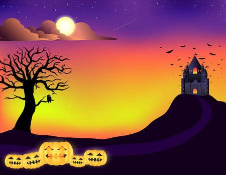 angry sky: Halloween , castle, tree, sunset sky