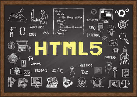 html 5: Doodle about HTML 5 on chalkboard. Illustration