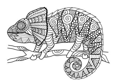 animal fauna: Hand drawn chameleon   style for coloring book,shirt design effect, ,tattoo and other decorations.