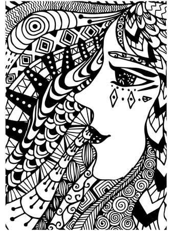 for women: Pattern for coloring book. Ethnic,woman, retro, doodle, tribal design element. Black and white background. Illustration