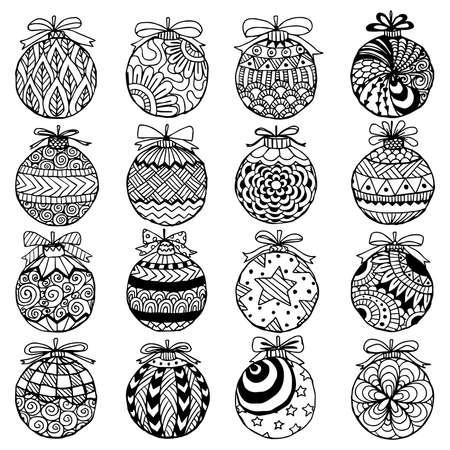 Hand drawn set of Christmas decorative for design element. Vector illustration