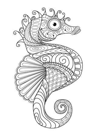 Hand getrokken zeepaardje stijl voor kleurplaat, t-shirtontwerp effect tatoeage en ga zo maar door.