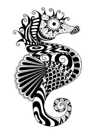 oceano: Mano mar dibujado estilo de caballos para colorear página, camiseta efecto de diseño, tatuaje y así sucesivamente.