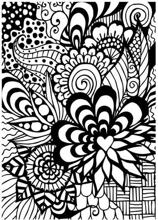 Save to a lightbox  Find Similar Images  Share Stock Vector Illustration: Pattern for coloring book. Ethnic, floral, retro, doodle, vector, tribal design element. Black and white background. Ilustração