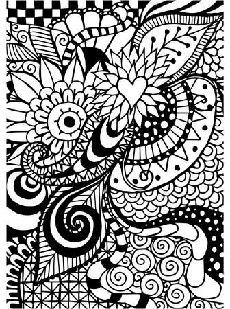 similar images: Save to a lightbox  Find Similar Images  Share Stock Vector Illustration: Pattern for coloring book. Ethnic, floral, retro, doodle, vector, tribal design element. Black and white background. Illustration