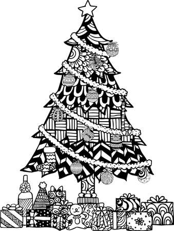 black tree: Hand drawn Christmas tree   style with Christmas balls and gift boxes.