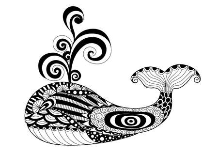 animal vector: Hand drawn whale   style for coloring page,t shirt design effect,  tattoo and so on.