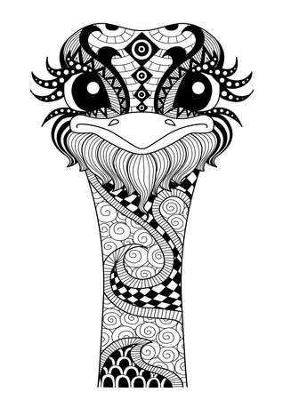 avestruz: Mano avestruz dibujado por página para colorear, camiseta efecto de diseño y tatuaje