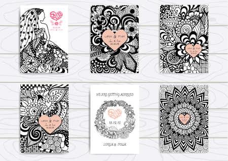 hojas parra: Conjunto de la mano dibujada en la plantilla A4 para impresión. Tarjeta de boda plantilla de diseño. Vectores