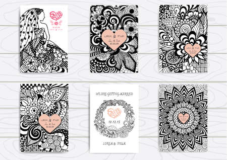 for: Set of hand drawn   on A4 template for print. Wedding card design template.
