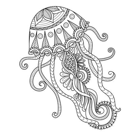 ancient scroll: Hand drawn jellyfish   style for coloring page,t shirt design effect,  tattoo and so on. Illustration