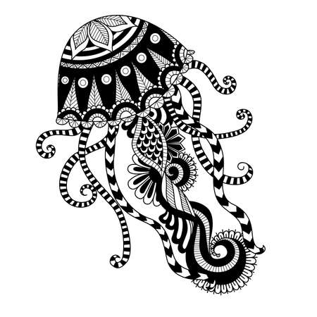 t shirt design: Hand drawn jellyfish   style for coloring page,t shirt design effect,  tattoo and so on. Illustration