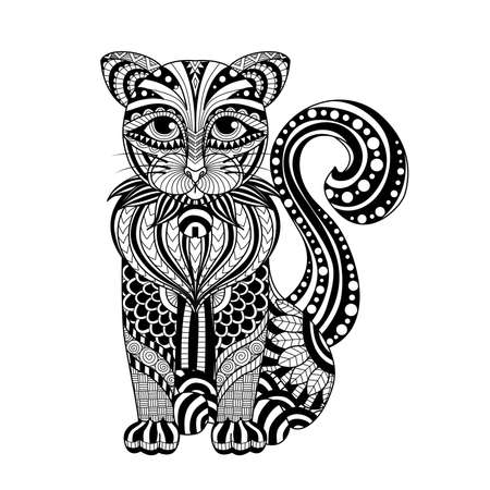 Drawing   cat for coloring page, shirt design effect,  tattoo and decoration. Vectores
