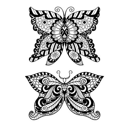 butterflies for decorations: Hand drawn butterfly   style for coloring book, shirt design or tattoo