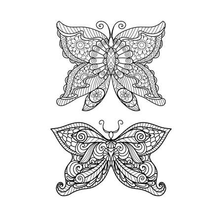 dibujos para colorear: Dibujado a mano de estilo mariposa para colorear, diseño de la camisa o un tatuaje