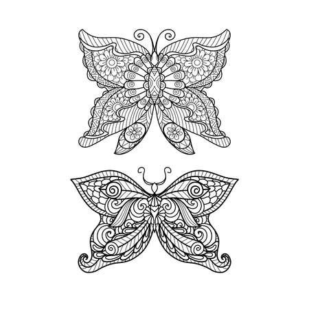 Tiré par la main style papillon pour livre de coloriage, conception de chemise ou d'un tatouage Banque d'images - 46617472