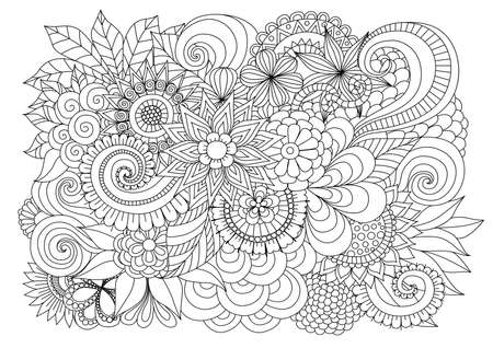 adults: Hand drawn   floral background for coloring page