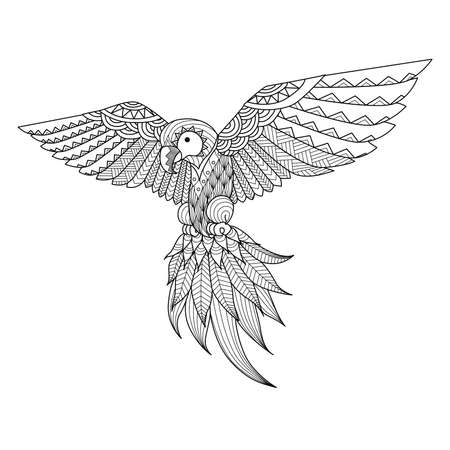 flying: Hand drawn   parrot for coloring book,tattoo,shirt design,   and so on
