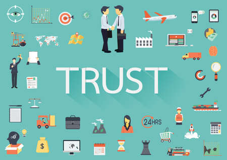 concerning: The word TRUST with long shadow surrounding by concerning flat icons