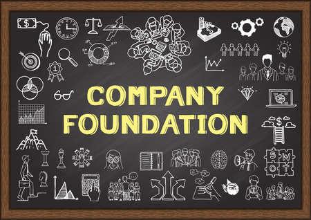 entrepreneur: Doodle about company foundation on chalkboard Illustration