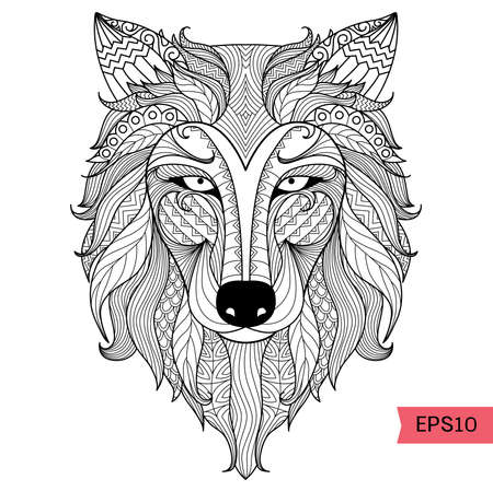 bohemian: Detail zentangle wolf for coloring page,tattoo, t shirt design effect and logo Illustration