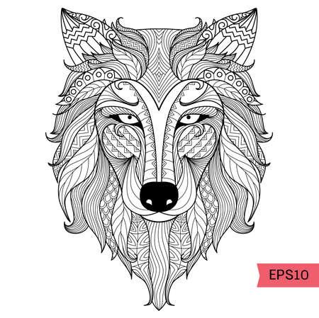 lobo feroz: Detalle lobo zentangle para colorear página, tatuaje, camiseta efecto de diseño y logotipo