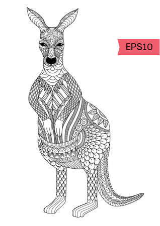 design of cute kangaroo for printing on product like mug, t shirt or adult coloring book. Vector illustration