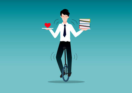 personality development: Business man riding unicycle while balancing what he love and work. Life balance concept.