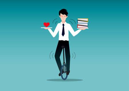 Homem de negócios andando de monociclo enquanto equilibra o que ele ama e trabalha. Conceito de equilíbrio de vida.