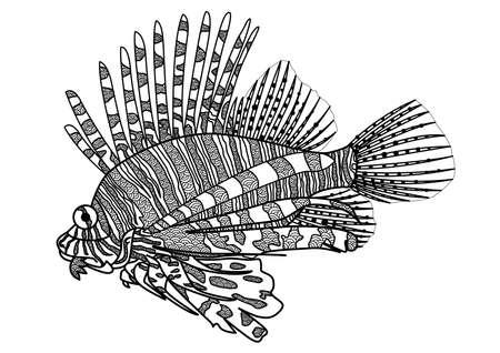 lion dessin: Dessin numérique poissons lion zentangle pour livre de coloriage, tatouage, conception de chemise